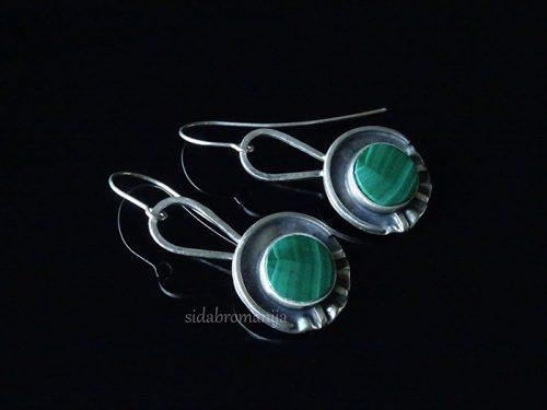 sidabriniai auskarai su malachitu